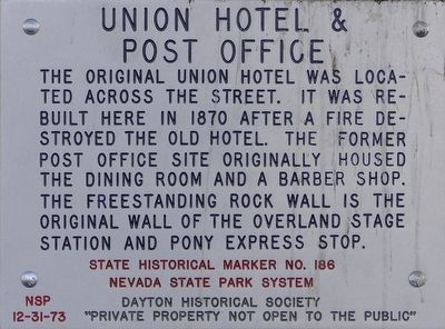 Union Hotel & Post Office Marker image. Click for full size.