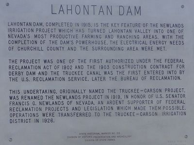 Lahontan Dam Marker image. Click for full size.