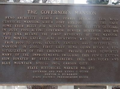 The Governor's Mansion Marker image. Click for full size.
