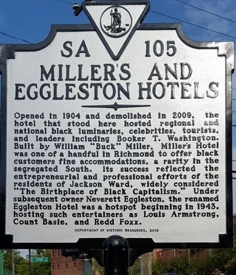 Miller's and Eggleston Hotels Marker image. Click for full size.