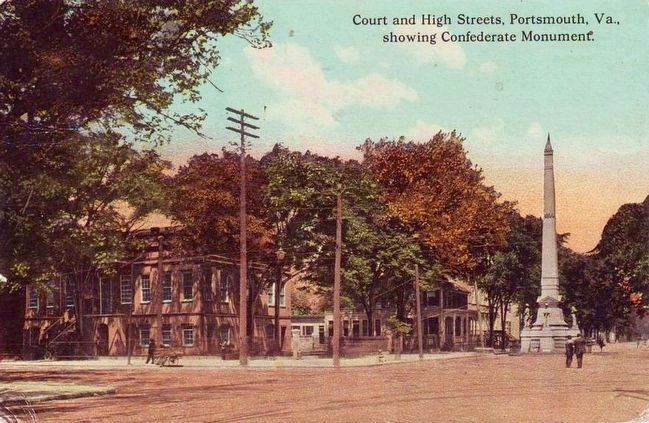 <i>Court and High Streets, Portsmouth, Va.<br> showing Confederate Monument</i> image. Click for full size.
