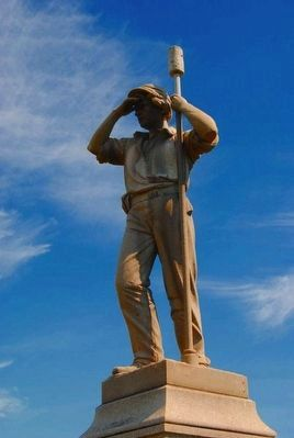 "Durell's Independent Battery ""D"" Monument<br>Statue of Artilleryman image. Click for full size."