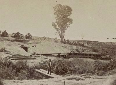 "<i> Rear view of the 13-inch Mortar ""Dictator"" in the works of Petersburg, Va. September 1, 1864</i> image. Click for full size."