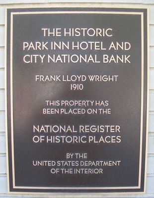 The Historic Park Inn Hotel and City National Bank NRHP Marker image. Click for full size.