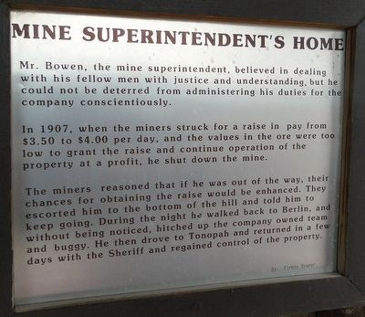 Mine Superintendent's Home Marker image. Click for full size.