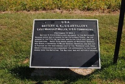 Battery G, 4th U.S. Artillery Marker image. Click for full size.