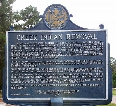 Creek Indian Removal Marker image. Click for full size.