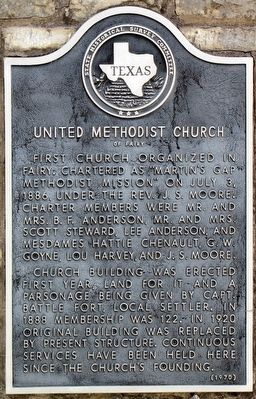 United Methodist Church of Fairy Texas Historical Marker image. Click for full size.