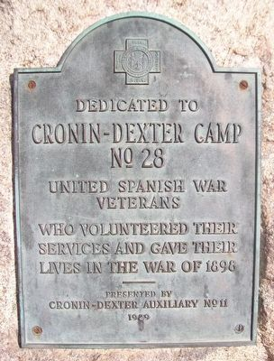 Cronin-Dexter Camp No. 28 United Spanish War Veterans Marker image. Click for full size.