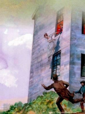 Eleanor Shaw leaps from Her Window<br>To Avoid an Unwanted British Advance image. Click for full size.