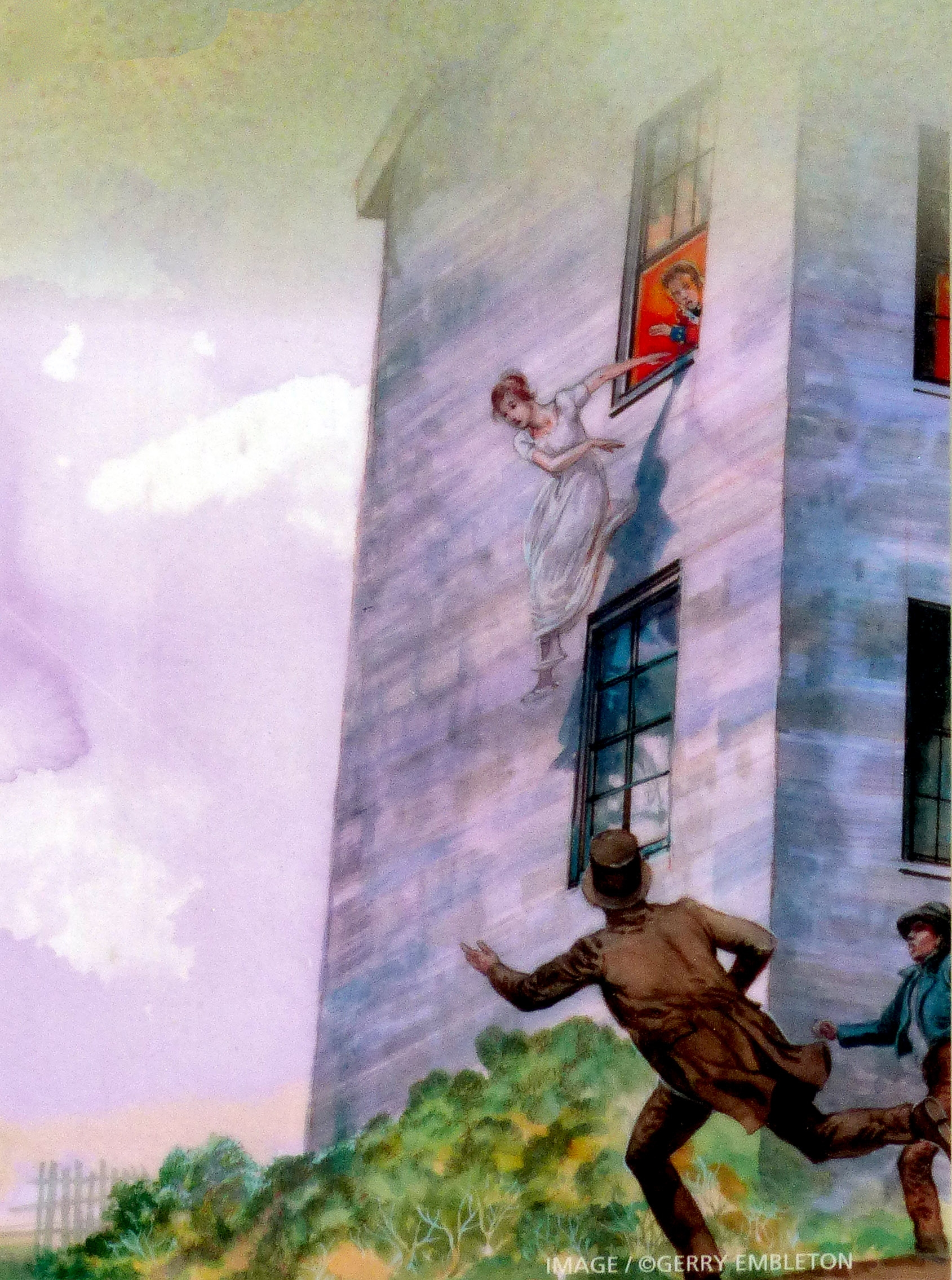 Eleanor Shaw leaps from Her Window<br>To Avoid an Unwanted British Advance