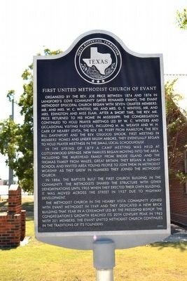 First United Methodist Church of Evant Marker image. Click for full size.