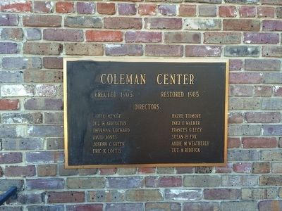 Coleman Center dedication plaque. image. Click for full size.