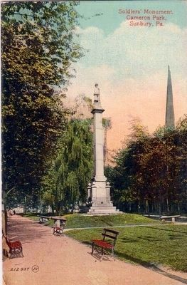 <i>Soldiers Memorial, Cameron Park, Sunbury, Pa.</i> image. Click for full size.