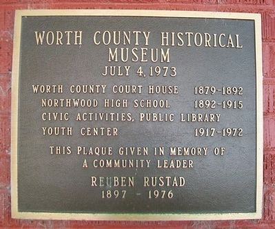 Worth County Historical Museum Marker image. Click for full size.