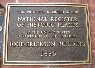 IOOF - Erickson Building NRHP Marker image. Click for full size.