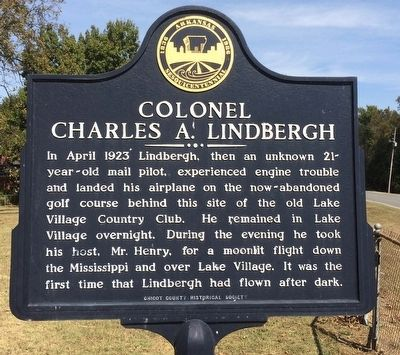 Colonel Charles A. Lindbergh Marker image. Click for full size.