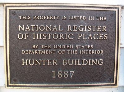 Hunter Building NRHP Marker image. Click for full size.