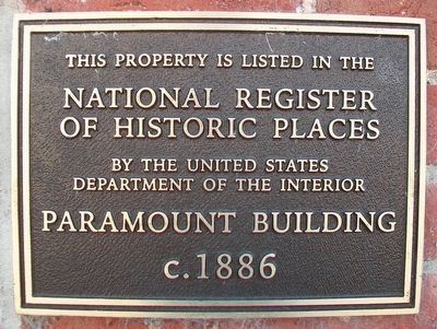 Paramount Building NRHP Marker image. Click for full size.
