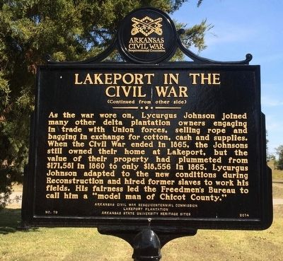 Lakeport in the Civil War Marker (Side 2) image. Click for full size.