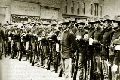 Federal Troops on South Front Street, Rock Springs, 1885 image. Click for full size.