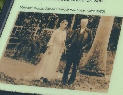 Mina and Thomas Edison in front of their home. (Circa 1920) image. Click for full size.