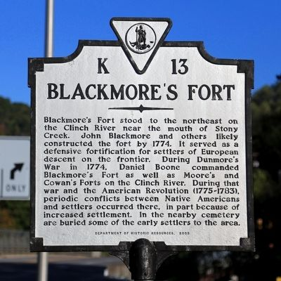 Blackmore's Fort Marker image. Click for full size.