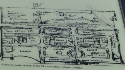 Edison's early sketch of his Florida winter retreat. (1885) image. Click for full size.
