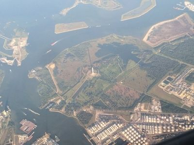 Aerial view of the San Jacinto Monument and the area of the battle. image. Click for full size.