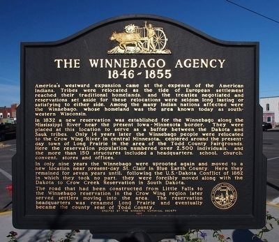 The Winnebago Agency 1846–1855 Marker image. Click for full size.