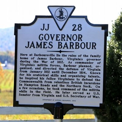 Governor James Barbour Marker image. Click for full size.