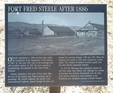 Fort Fred Steele after 1886 Marker image. Click for full size.
