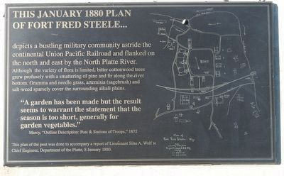 This January 1880 plan of Fort Fred Steele... Marker image. Click for full size.