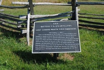 Battery F, 5th U.S. Artillery Marker image. Click for full size.