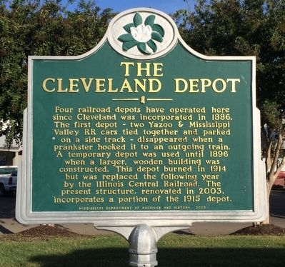 The Cleveland Depot Marker image. Click for full size.
