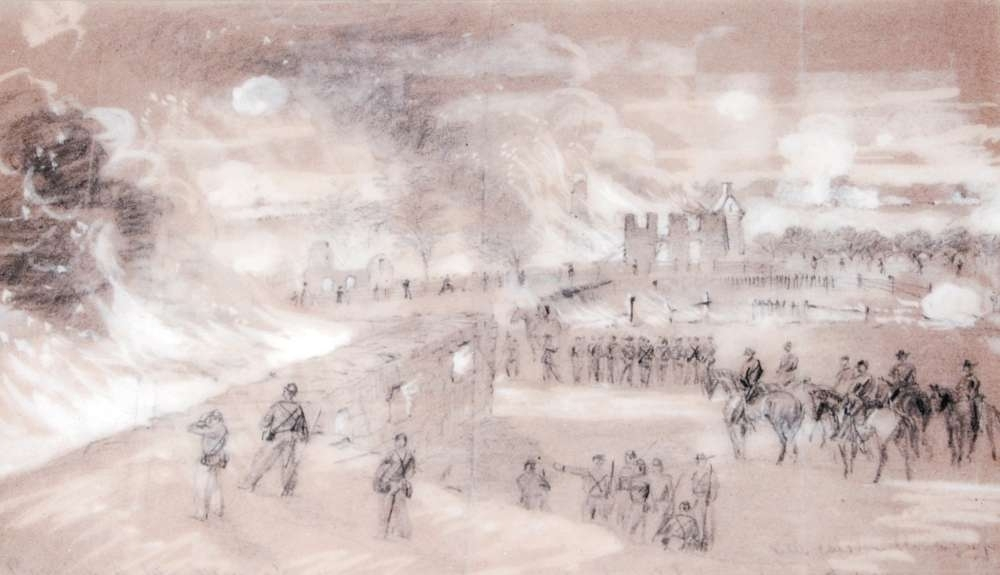 Alfred Waud Sketch of the Burning of Mumma Farm<br>Published in <i>Harpers Weekly</i>