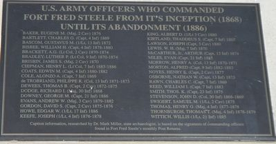 Officers Who Commanded Fort Fred Steele Marker image. Click for full size.