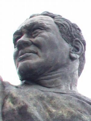 Earl L. (Curly) Lambeau Statue Detail image. Click for full size.