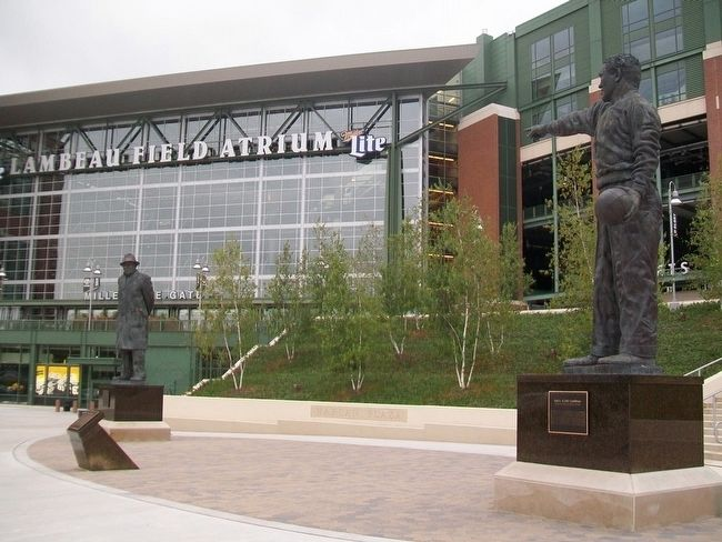 Vince Lombardi and Earl L. (Curly) Lambeau at Relocated Harlan Plaza image. Click for full size.