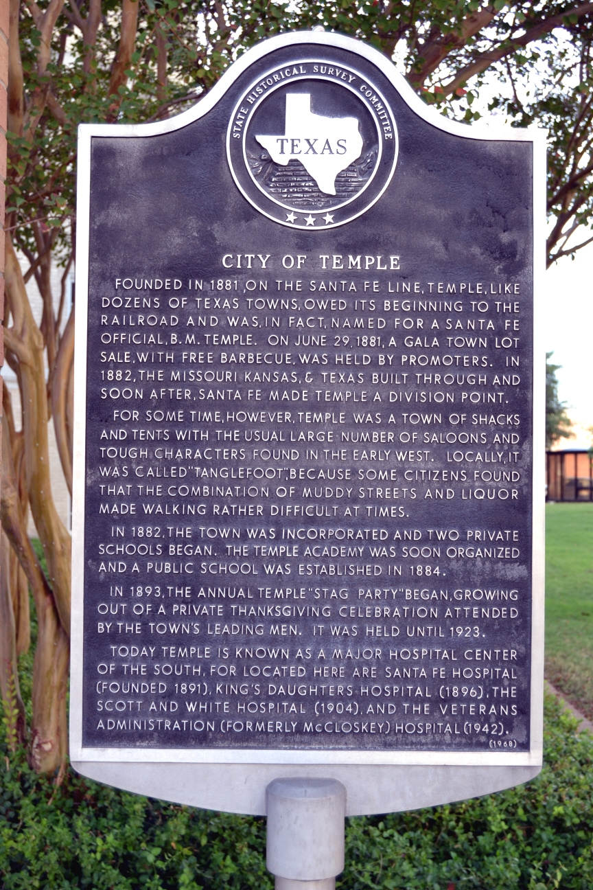 City of Temple Marker