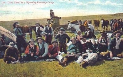 """Grub Time"" in a Wyoming Roundup Camp image. Click for full size."