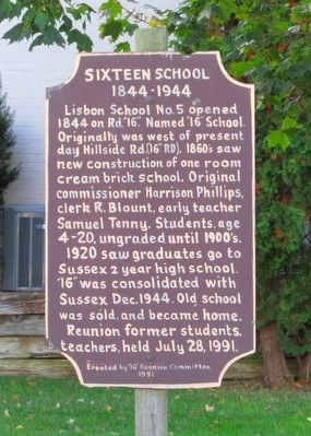 Sixteen School Marker image. Click for full size.
