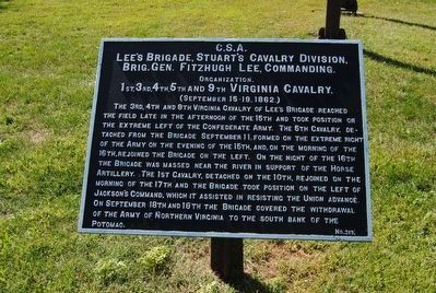 Lee's Brigade, Stuart's Cavalry Division Marker image. Click for full size.
