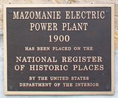 Mazomanie Electric Power Plant NRHP Marker image. Click for full size.