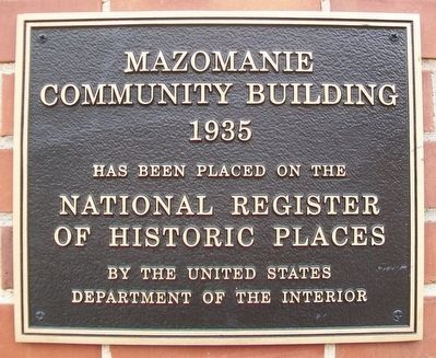 Mazomanie Community Building NRHP Marker image. Click for full size.