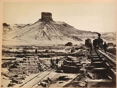 Union Pacific Railroad construction at Green River, WY image. Click for full size.