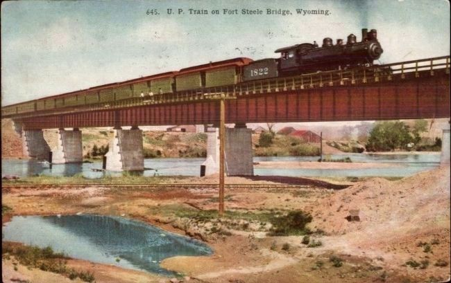 <i>U.P. Train on Fort Steele Bridge, Wyoming</i> image. Click for full size.
