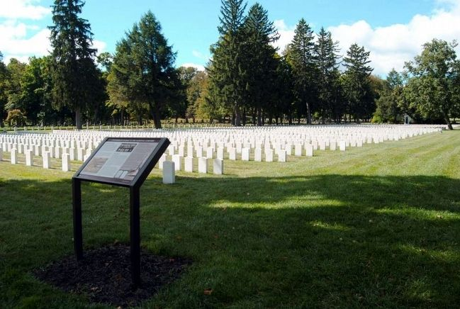 Confederate Burials in the National Cemetery Marker<br>Confederate Burials in Background image. Click for full size.