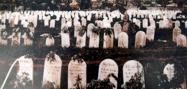 Wooden Headboards Mark the Graves, c. 1875<br>National Archives and Records Administration image. Click for full size.