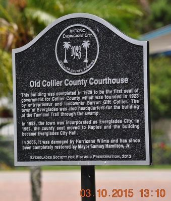 Old Collier County Courthouse Marker image. Click for full size.